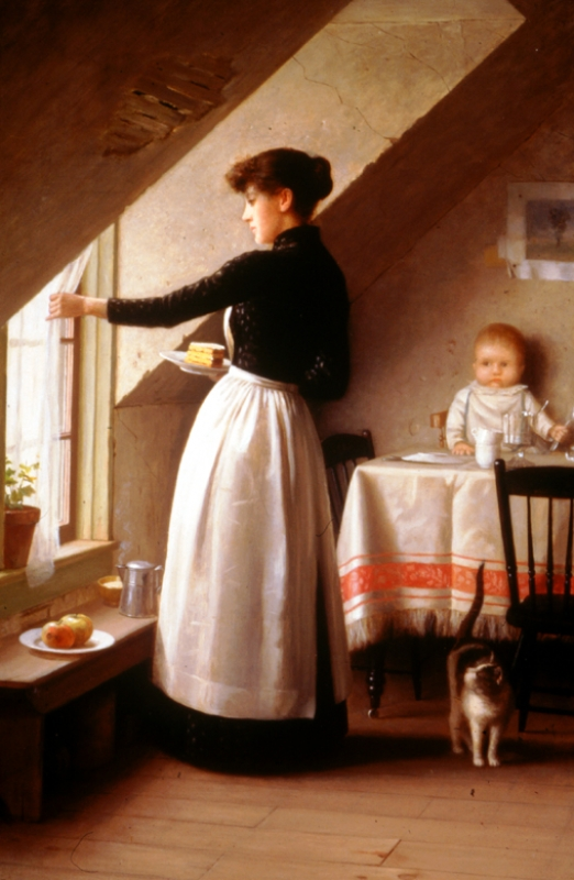 Evans, at kitchen window, 99-11
