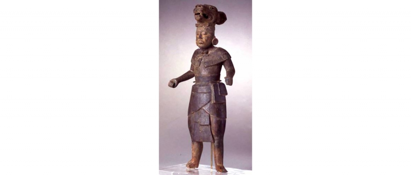 Pre columbian, jaguar warrior figure