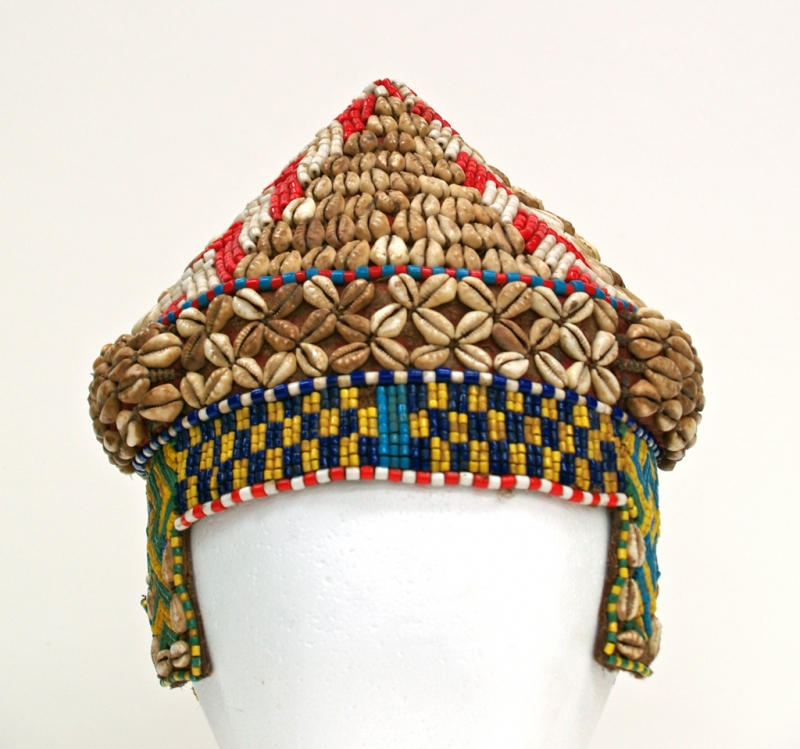 2005-64, headdress, cowrie shells, yellow