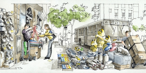 Urban sketching graphic